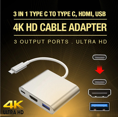 AU14.99 • Buy 3IN1 USB 3.1 Type-C USB-C To Female HUB 4K HD HDMI Data Charging Cable Adapter