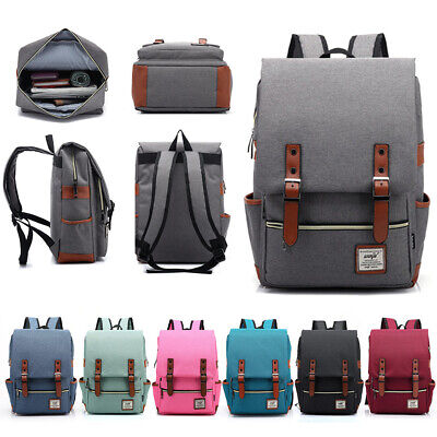 Universal Men Women Leather Canvas Backpack School Travel Shoulder Bag Rucksack • 8.99£