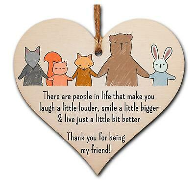 £3.99 • Buy Handmade Wooden Hanging Heart Plaque Gift Thank You For Being My Friend Cute