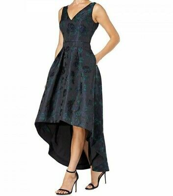 Aidan Mattox Navy Blue Jaquard Embroidered High Low Party Dress UK Size 8  • 21.95£