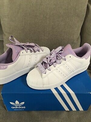 AU69 • Buy New In Box-Adidas Superstars White Purple Shoes Sneakers Size 7-8