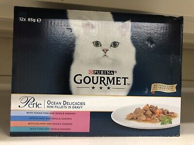 Gourmet Perle Pouch Ocean Delicacies 12Pack Cat Food 85G Mini Fillets In Gravy • 9.49£