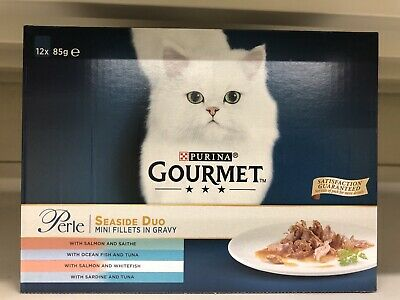 Gourmet Perle Seaside Duo Cat Food Pouches - 12 X 85g Mini Fillets In Gravy New • 8.99£