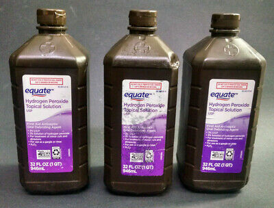 AU7.10 • Buy Lot Of 3 Equate 3% Hydrogen Peroxide Topical Solutions USP, 32 Ounces Each