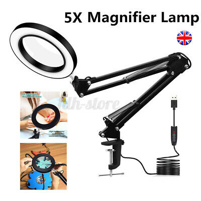 LED Desk Lamp 5X Magnifier Glass With Light Stand Clamp Beauty Magnifying Lamp • 19.78£