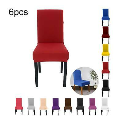 £8.59 • Buy 6PCS Dining Chair Seat Covers Slip Stretch Wedding Banquet Party  Removable