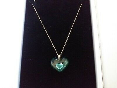 Lalique Stunning Pendant Pretty Mint Green Heart 9ct Gold 18   Chain Outstanding • 175£