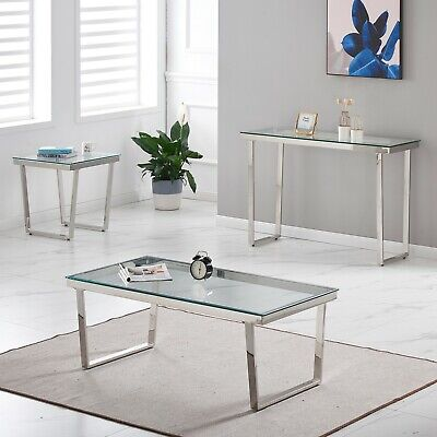 Console Coffee End Table Clear Tempered Glass Furniture Chrome Angled Leg Design • 54.99£