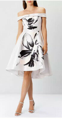 COAST VICTORIE BARDOT FLORAL PRINT HIGH LOW MIDI DRESS SIZE 10 UK Wedding Party • 70£