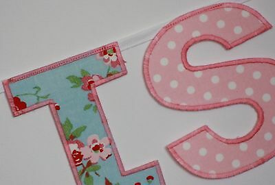 Girls Personalised Bunting~Cath Kidston Ikea Rosali And Laura Ashley Pink Name • 2£
