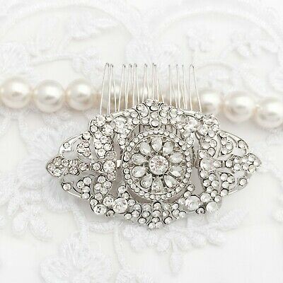 Bridal Wedding Hair Comb Silver Clear Crystal  Art Deco Style Gift Boxed Gatsby • 19£