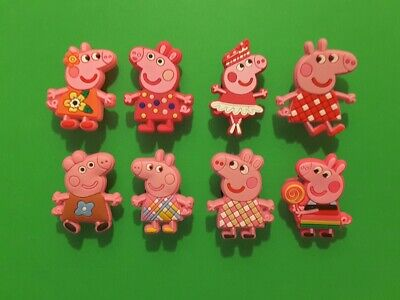 8pcs 2D PVC Shoe Charms Peppa Pig 3 Similar To Jibbitz Fits Crocs • 2.96£