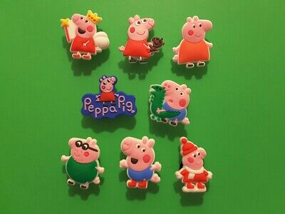 8pcs 2D PVC Shoe Charms Peppa Pig 4 Similar To Jibbitz Fits Crocs • 2.96£