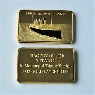 Tragedy Of The Titanic 1oz Gold Layered Oblong Commemorative Coin FREE GIFT BAG  • 9.99£