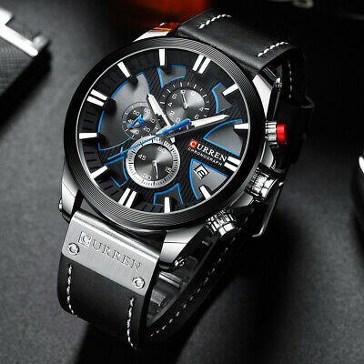 $25.99 • Buy Relojes Hombre Luxury Chronograph Mens Watch Waterproof Military Leather Watches