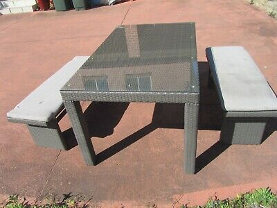 AU179.99 • Buy  Outdoor Furniture Wicker Rattan  Dining Setting With 2 Benches With Cushion,