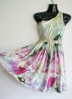 AU35 • Buy Stunning FOREVER NEW Pure Silk Dress 6 8 Watercolour Print One-shoulder Style