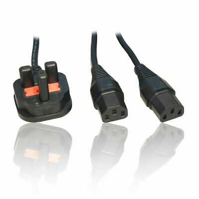 2m 6ft UK 3 Pin Y Splitter 2x IEC C13 Mains Plug Kettle Lead Connection Cable • 9.99£