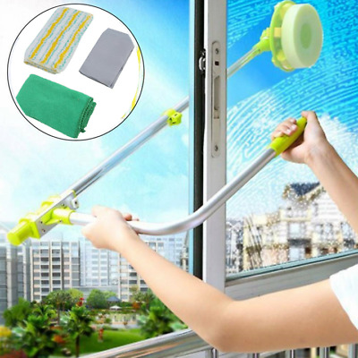 U-type Telescopic High Rise Window Cleaner Glass Dust Cleaning Brush Squeegee • 12.39£