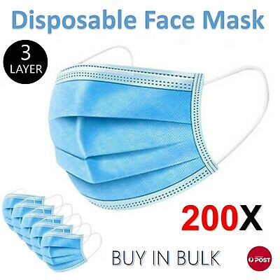 AU28.96 • Buy 200Pc Disposable Face Mask Protective Masks 3 Layer Meltblown Filter General Use