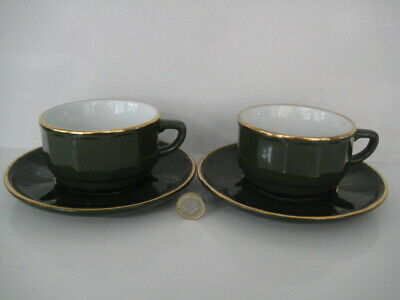 2  X  APILCO GREEN & GOLD LARGE COFFEE TEA CUPS AND SAUCERS FRENCH BISTRO WARE • 34.99£