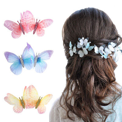 £2.68 • Buy 2PCS 3D Butterfly Fairy Hairpin Barrette Hair Clips Women Hair Accessories Party
