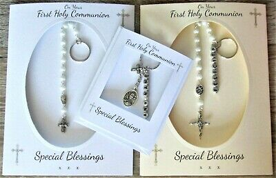 £6.49 • Buy FIRST HOLY COMMUNION Card And GIFT Crucifix Keyring Rosary Beads Personalised