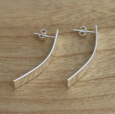 £21.98 • Buy Solid 925 Sterling Silver Large Stylish Long Curved Half Hoop Earrings Gift Box