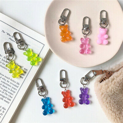 Cute Gummy Bear Keychain Candy Color Charms Keyring Girl Earphone Cover Jewelry • 2.22£