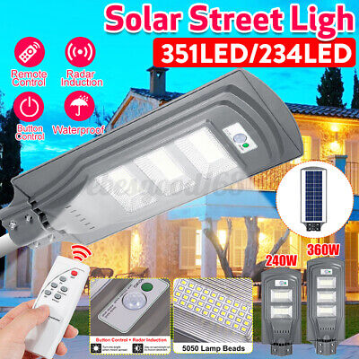360W 36000LM 351LED Wall Street Light Solar Powered PIR Motion Path Garde • 23.69£
