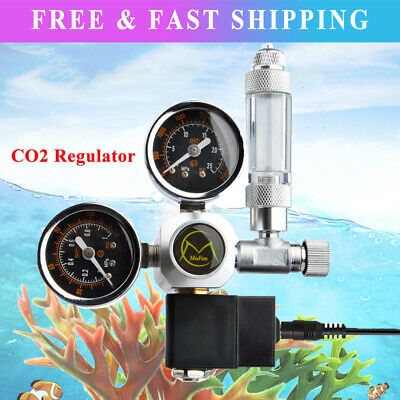 Aquarium CO2 Regulator 2 Gauge Display With Bubble Counter Solenoid Valve • 46.75£