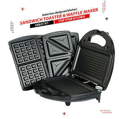 £31.99 • Buy 3 In 1 Sandwich Toaster & Waffle Maker 750W Panini Press Toaster Iron Grilled