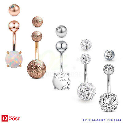 AU11.99 • Buy 5PCs Belly Button Rings Navel Bars Surgical Steel Stone Body Piercing Jewellery