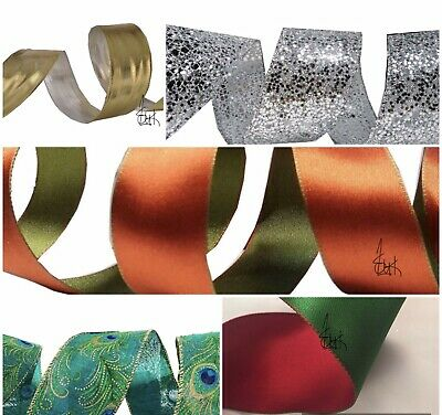 Wired Edge Ribbon Christmas Deco /mesh Ribbon/any Occasion/craft/quality Design  • 1.99£