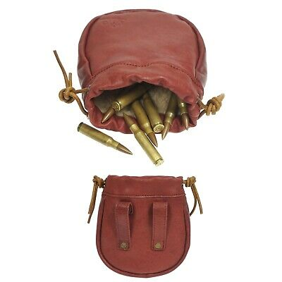 Genuine Leather Drawstring Ammo Hunting Pouch Wallet Storage Cartridge Bag Red • 16.20£