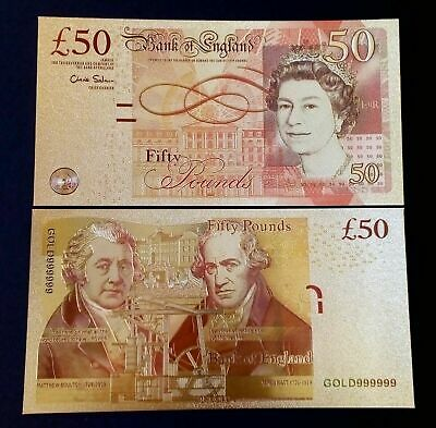 24 Carat Gold Leaf £50 Fifty Pound Note Collectable  • 2.49£