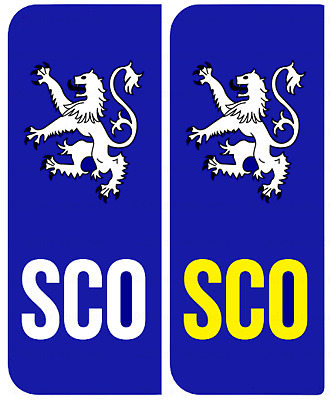 2 SCO Scotland Scottish Car Number Plate Registration Plate Vinyl Stickers Flag  • 1.15£