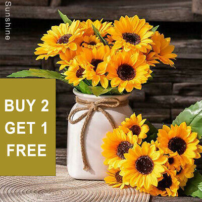 Artificial Decor Fake Home Bouquet Sunflower Silk Flowers Flower Garden Wedding • 3.84£