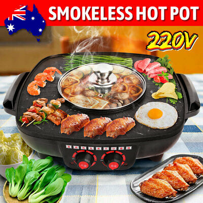 AU43.85 • Buy Electric BBQ Hot Pot Pan Plate Shabu Oven Grill Boil Cook Barbecue Hotpot OZ