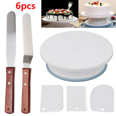 6Pcs Kitchen Cake Decorating Icing Rotating Revolving Turntable Display Stand UK • 8.98£
