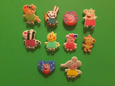 10pcs 2D PVC Shoe Charms Peppa Pig 5 Similar To Jibbitz Fits Crocs • 3.35£