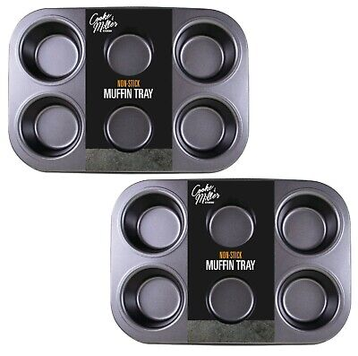 2 X 6 CUP LARGE MUFFIN YORKSHIRE PUDDING MOULD CUPCAKE BAKING TRAY BAKEWARE NEW • 6.99£