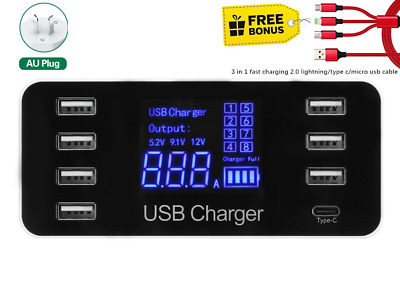AU39.35 • Buy 8 Port USB Charger W Type C Hub 5V8A40W LCD Digital Display Fast Charge Station