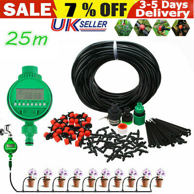 Automatic Drip Irrigation System Plant Timer Self Watering Garden 25M Hose Kit. • 13.98£