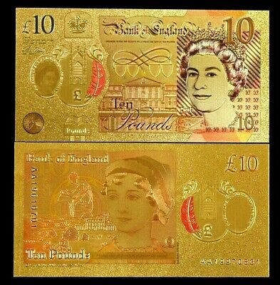 24 Carat Gold Leaf £10 Ten Pound Note Collectable  • 1.95£
