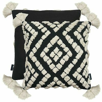 Bohemian Tassels Tufts Cream Black Rocco Indian Boho17  Cushion Cover £14.29 • 14.29£