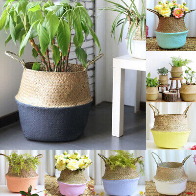 UK Manual Flower Plants Seagrass Woven Storage Pots Bag Wicker Basket Home Decor • 10.99£