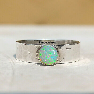 £6.97 • Buy Ethiopian Opal Ring 925 Sterling Silver Ring Band Ring Handmade Jewelry - W2