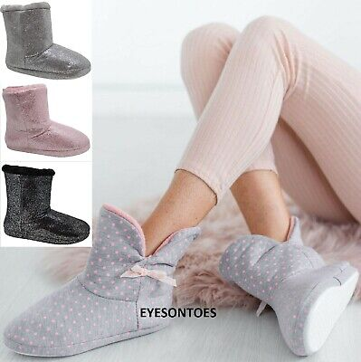 £9.95 • Buy Ladies Womens Ankle Warm Winter Bootie Sofy Boot Comfy Bow Slippers Shoes Size