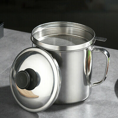 AU27.69 • Buy 1.8L Stainless Steel Oil Filter Pot Cooking Soup Grease Strainer Separator Home